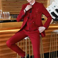 新品18四季男士韩版修身绣花立领结婚西服套装潮流青年男式休闲三
