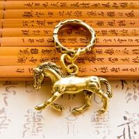 复古个性纯铜黄铜十二生肖马铜马钥匙扣链男女汽车挂件生日小礼物