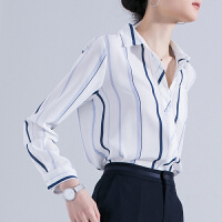 安妮纯撞色拼接 垂顺雪纺蓝白竖条纹衬衫女士休闲衬衣女夏2020新款长袖
