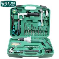 老A(LAOA) 810w多功能冲击钻电动工具 220v 合金钢 家用手电钻套装盒装 绿色