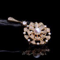 银鎏金淡水珍珠宝格丽胸花胸针女款配饰饰品装饰首饰