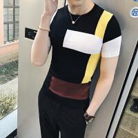 短袖T恤男2018新款韩版圆领男士针织衫 半袖tee夏天衣服紧身体恤