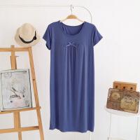 带胸垫莫代尔家居服女夏睡衣免文胸外穿短袖加大睡裙打底裙孕妇裙 藏青色 短BRA莫代尔裙