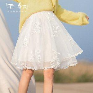 烟花烫尔叙 2018夏新款女装简约纯色绣花镂空蝴蝶半身裙 奇南
