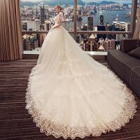 婚纱礼服2018新款新娘结婚欧美公主宫廷显瘦长拖尾婚纱立领2018