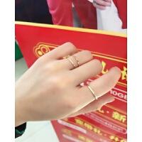 极细彩金戒指女日韩潮人学生简约个性尾戒小指韩国钛钢18k玫瑰金 玫瑰金3号