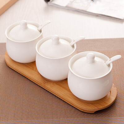 创意调味罐套装陶瓷调味品罐三件套调料盒套装糖罐盐罐
