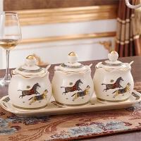 欧式陶瓷调味罐套装盐罐调味瓶美式调料盒套装 创意厨房用品用具