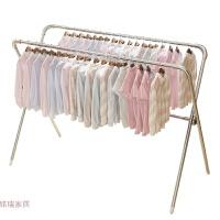 晾衣架落地双杆式折叠室内晾衣杆阳台简易晒衣架不锈钢凉衣架晒架