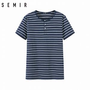 森马短袖t恤男2018夏装新款韩版潮条纹体恤男士纯棉圆领半袖上衣