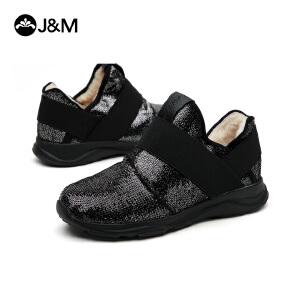 jm快乐玛丽冬季潮亮片平底套脚高帮鞋休闲加绒松紧带女鞋子76061W