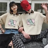 2018新款情侣装夏装港风休闲宽松POLO衫青年潮流卡通韩范短袖T恤