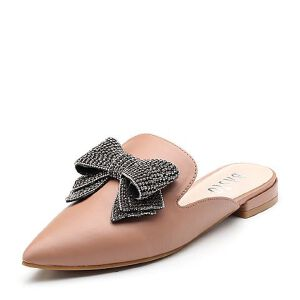 BASTO/百思图2018夏季专柜同款牛皮革闪钻蝴蝶结方跟穆勒鞋女拖鞋RIO10BH8