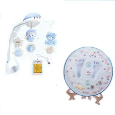 婴儿床铃音乐旋转床头摇铃投影玩具0-6个月宝宝玩具 蓝色床铃+充电套装+手足印泥 发货周期:一般在付款后2-90天左右发货,具体发货时间请以与客服协商的时间为准