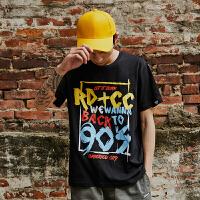 UXE夏季新款纯棉短袖T恤男嘻哈风街头涂鸦潮流半袖潮牌百搭打底衫