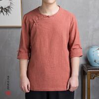 中国风男装盘扣亚麻民国服装宽松大码汉服男士七分袖唐装T恤复古