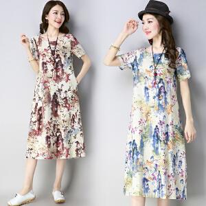 安妮纯大码宽松中长款棉麻短袖连衣裙女2019夏季民族风亚麻长裙