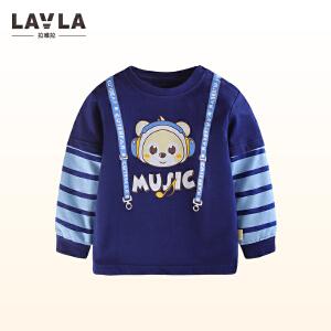 lavla童装 2018春装新款儿童假背带T恤男童假两件打底衫中小童衣服