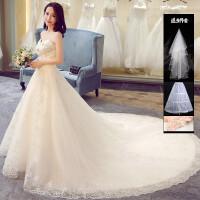 新娘婚纱礼服2018新款冬季韩式抹胸长拖尾修身显瘦宫廷女结婚