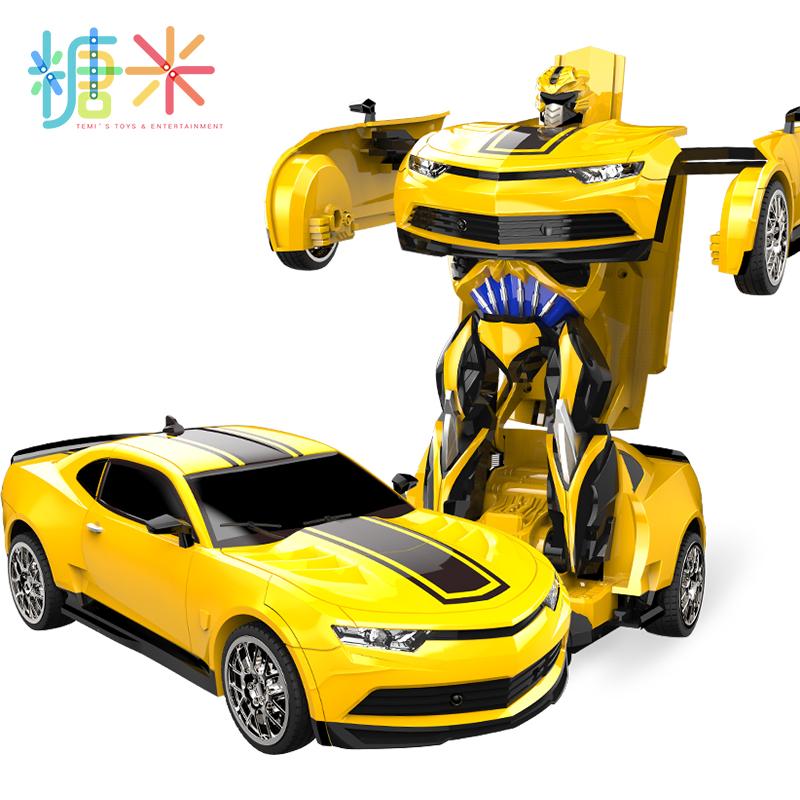 遥控一键变形玩具金刚模型大黄蜂充电加大汽车机器人男孩儿童礼物
