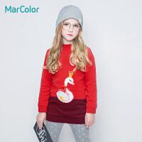 巴拉巴拉旗下marcolor马卡乐女童冬装保暖毛衫中长款纯棉卡通毛衣