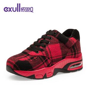 依思q新款系带圆头女鞋 舒适运动风休闲单鞋女