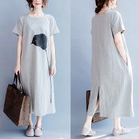 夏装新款200斤胖妹妹女装纯棉印花宽松显瘦连衣裙大码短袖t恤长裙