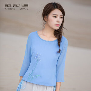 烟花烫 短袖女2018新款夏女装绣花蓝色简约收腰显瘦衬衣t恤 品美