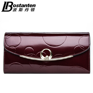 (可礼品卡支付)波斯丹顿新款女士长款钱包女牛皮漆皮票夹三折欧美皮夹女式手包潮BW352021