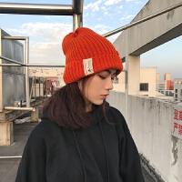 韩版休闲纯色贴标毛线帽子男女秋冬情侣保暖针织帽套头冷帽