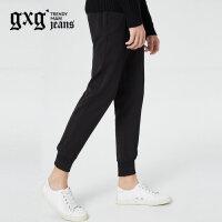 gxg.jeans男装秋冬新品青年黑色运动束腿裤休闲针织裤潮64602314