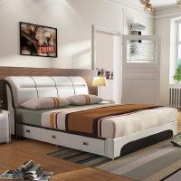 【限时直降 质保三年】现代致家头层皮收纳真皮软体床 219#1.8米1.6米卧室双人床婚床