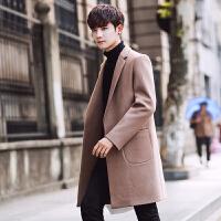 新款男装2018秋冬装韩版修身毛呢大衣男士中长款风衣潮男装呢子外