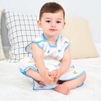 龙之涵婴儿薄款睡袋春夏季宝宝纱布背心睡袋空调儿童防踢被