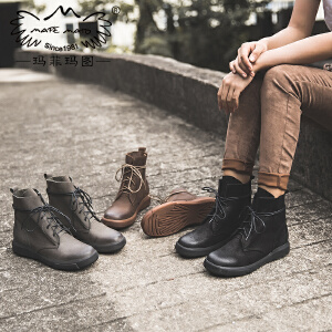 玛菲玛图真皮短靴女冬季2018新款中跟平底单靴帅气机车靴街头风系带马丁靴530-31