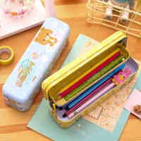 多功能儿童文具盒三层可爱铅笔盒铁质小学生幼儿园创意男童女
