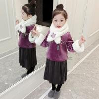 童装2020冬季新款夹棉女童拜年服裙子套装儿童唐装拜年服