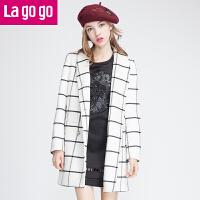 【每满200减100】冬季新款翻领印花格子毛呢外套女韩版中长款呢子大衣
