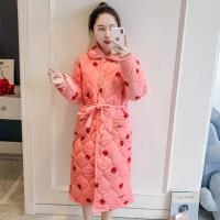 冬天睡袍女加厚加长款珊瑚绒夹棉法兰绒冬装可爱加绒浴袍式睡衣女