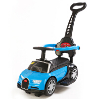 小孩扭扭车可推的儿童手推汽车滑行车男孩女孩扭扭车小宝宝可座可骑四轮玩具溜溜车 布加迪手推款蓝色 音乐 灯光