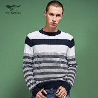 七匹狼旗下圣沃斯系列毛衫 秋季 青年男士羊毛混纺圆领毛衫