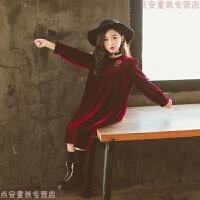 女童2018秋冬新款甜美蕾丝长袖A字裙童装宫廷风韩版丝绒连衣裙 酒红色