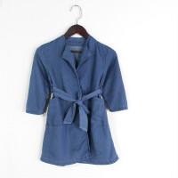 M04016秋季新款韩版简约无纽扣有腰带显瘦男女童纯色风衣外套