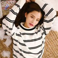 韩国ulzzang甜美学生宽松bf条纹小清新毛衣女秋冬套头上衣 均码