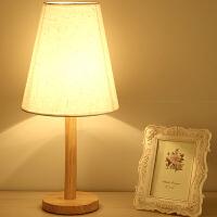 木艺台灯 卧室台灯 小木灯 实木底座 装饰布艺简约床头阅读灯 氛围灯YX-LMD0117