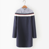 韩版女装 加肥加大胖MM竖条拼接假两件连衣裙修身时尚文艺打底裙