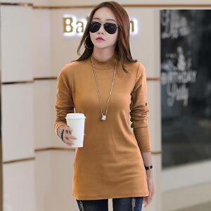 韩版女士t恤打底衫中长款棉质半高领纯色长袖上衣大码女装
