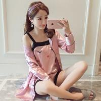 韩版蕾丝吊带睡衣女夏性感丝绸睡袍长袖冰丝情侣三件套家居服套装