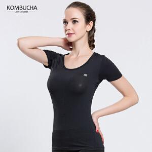 【限时特惠】KOMBUCHA瑜伽服2018新款女士速干透气修身显瘦圆领短袖T恤瑜珈跑步健身上衣K0056