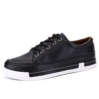 秋季新款板鞋休闲韩版潮流青少年黑色皮鞋学生运动潮鞋男鞋子